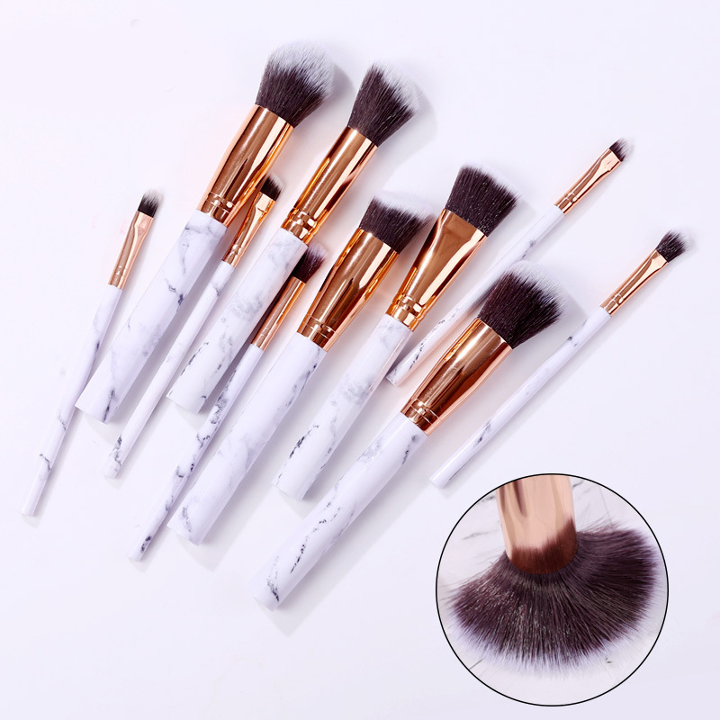 Marble makeup brushes 10 piece kit