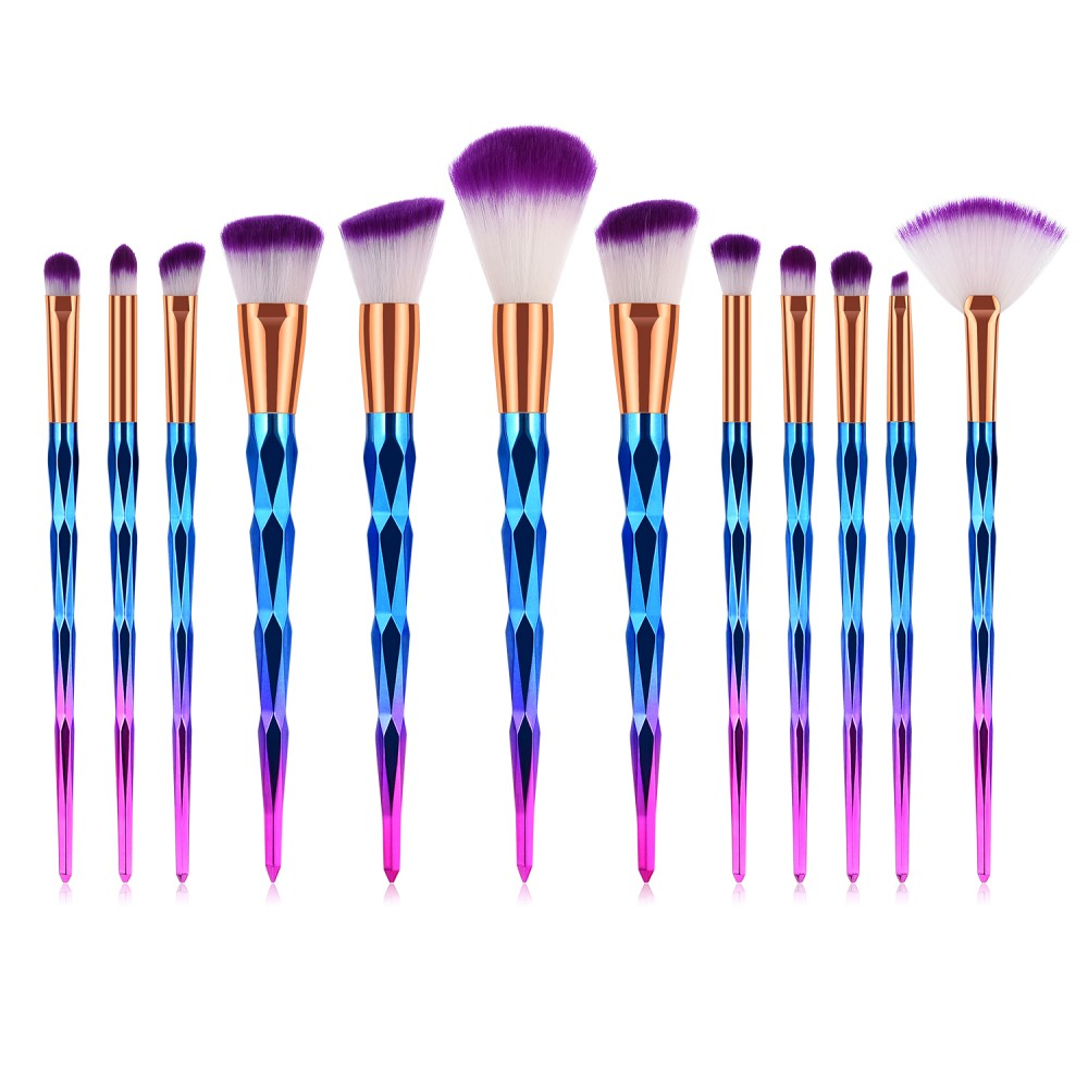 Diamond 12 piece makeup brushes set