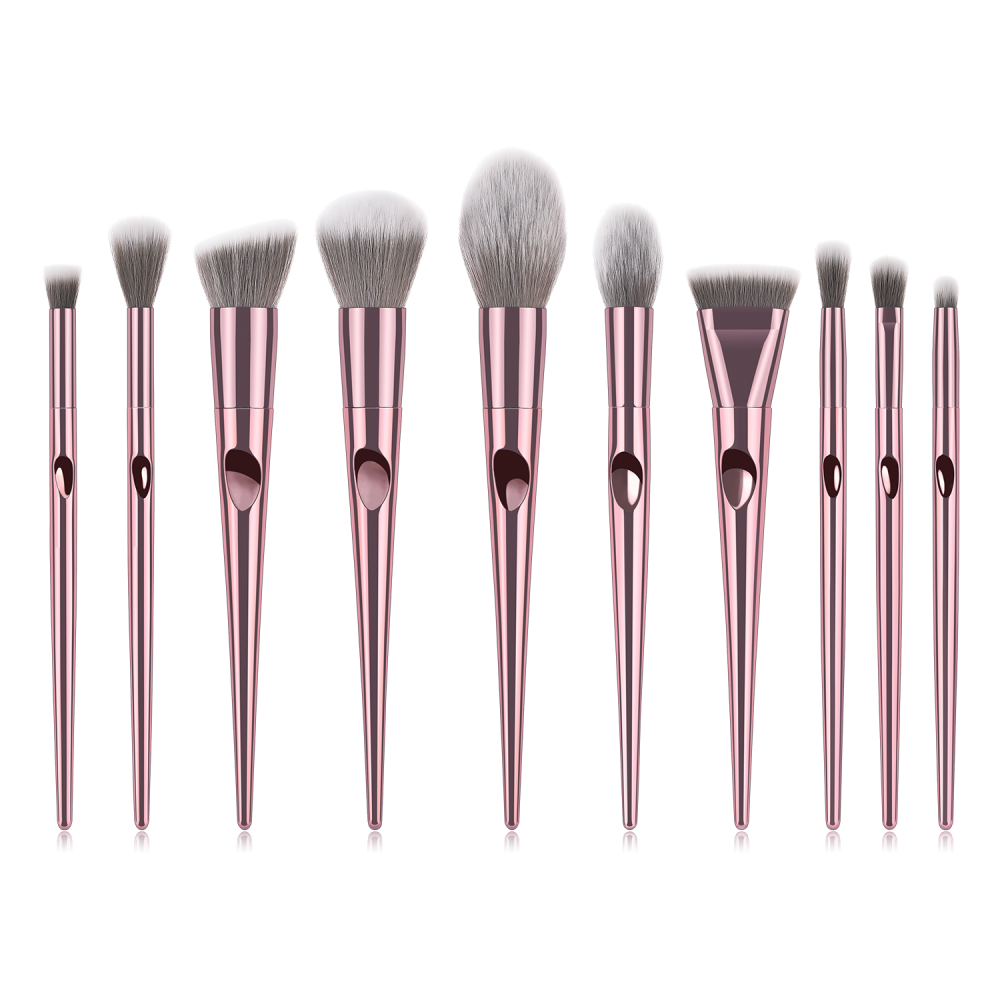 Rose gold 10 piece makeup brushes set