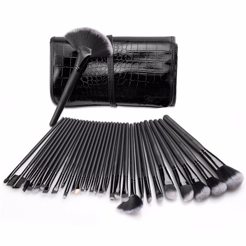 Professional all black 32 piece makeup brushes set