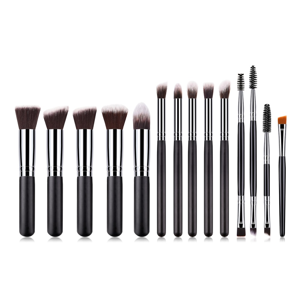 Black/silver 14 piece cosmetic brushes