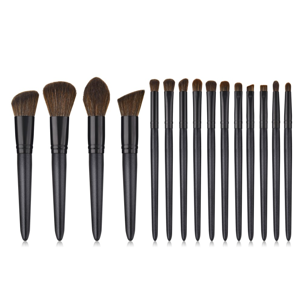 Black soft hair makeup brushes kit 15 pieces