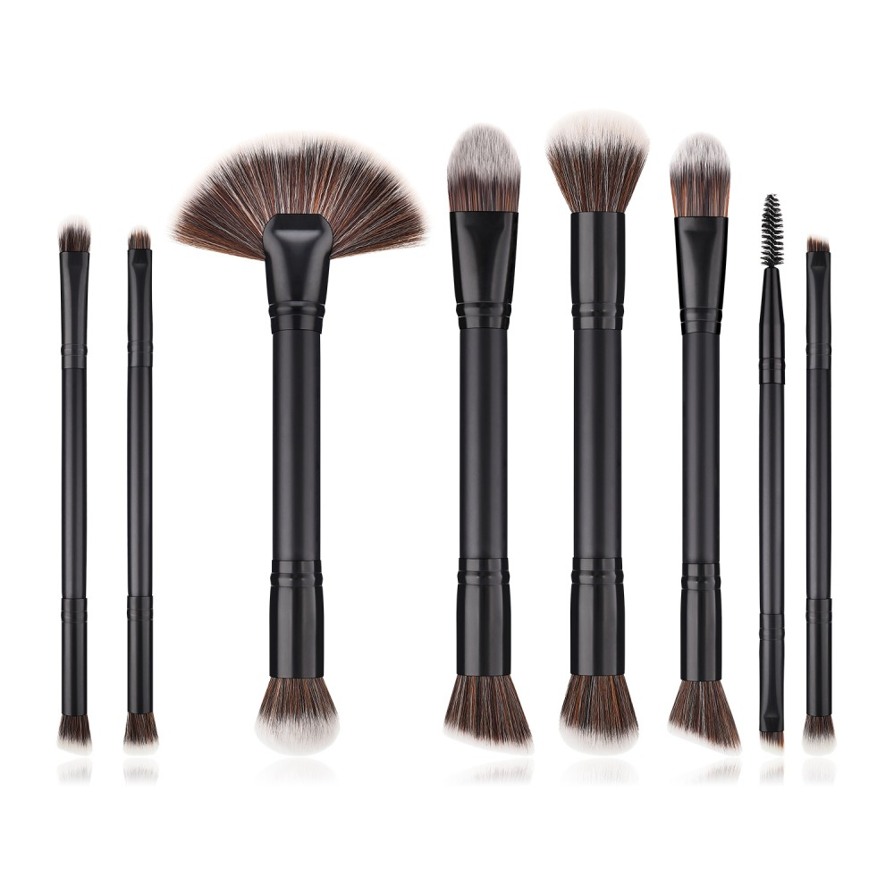 double sides 8 piece black brushes set for makeup