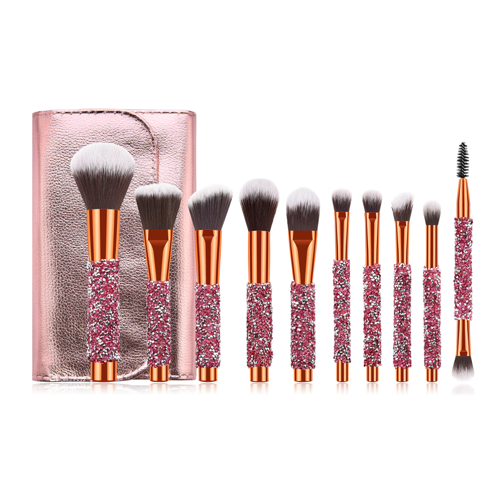 Blinged makeup brushes set with rose gold cosmetic
