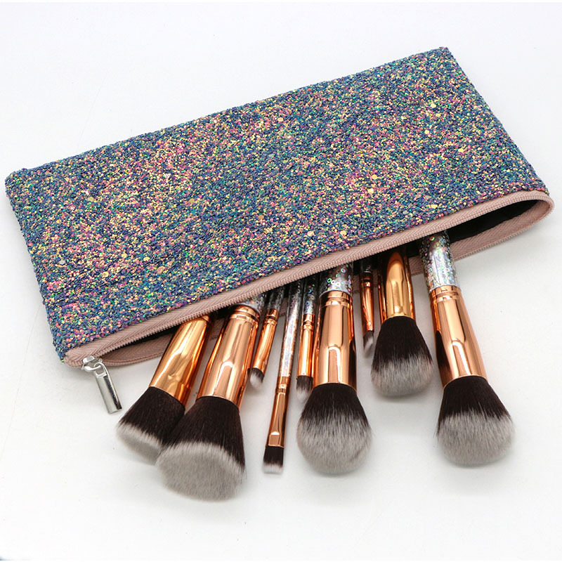 Blinged makeup brushes set,holographic beauty tool