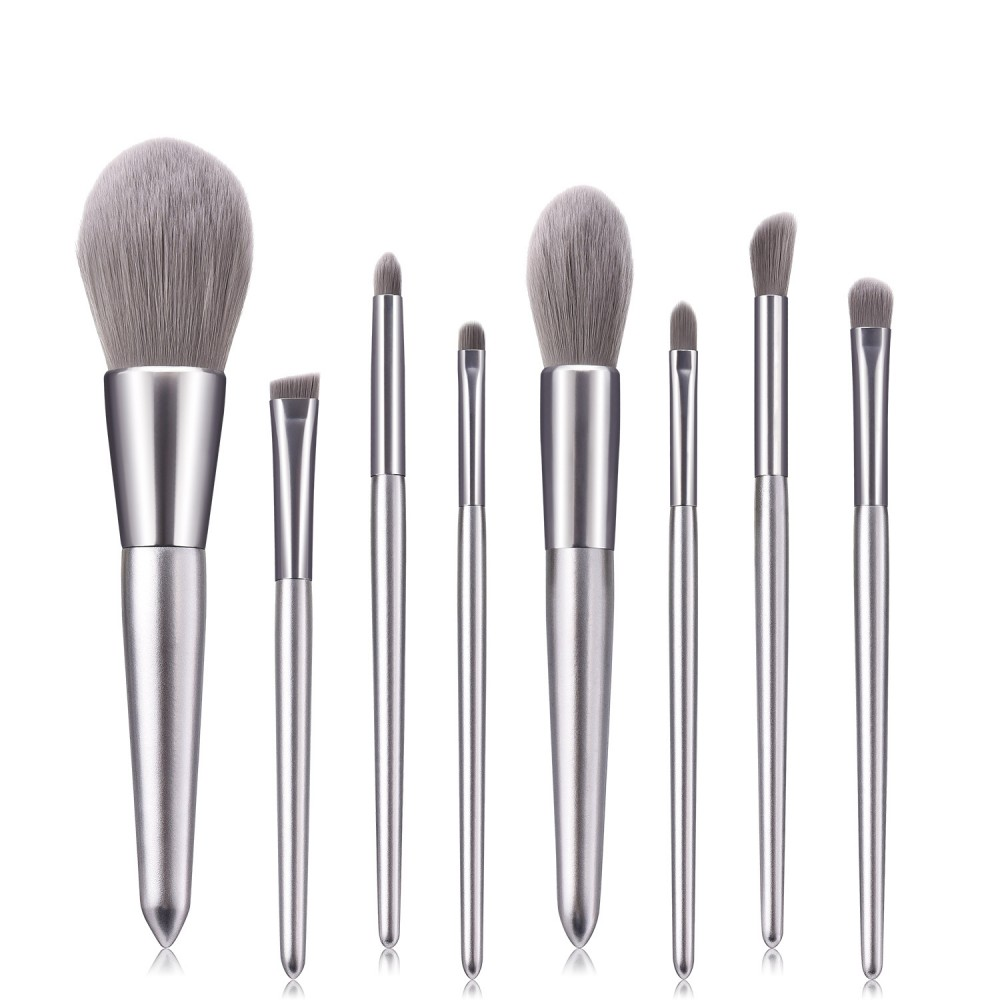 Metal gray 8 piece makeup brushes set