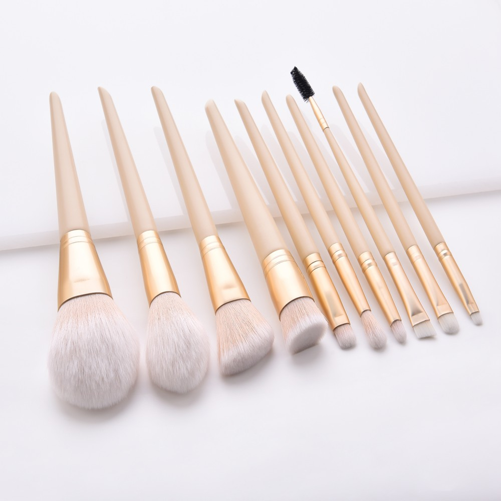 yellow 10pcs essential makeup brushes set